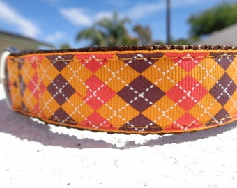 """Sale Dog Collar Orange Argyle 1"""" wide Quick Release buckle adjustable - Martingale style is cost upgrade"""