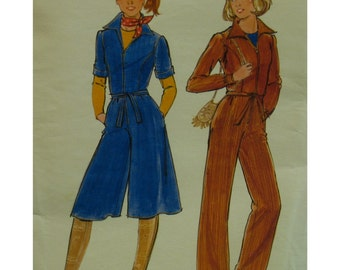 "Culotte Dress, Jumpsuit Pattern,  Zipper Front, Collar, Long/Short Sleeves, Pants, Butterick No.5551 UNCUT Size 9 Bust 31"""