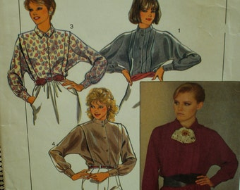 80s Dolman Sleeve Blouse Pattern, Sewn Front Pleats, Long Sleeves, Cuffs, Collar, Band, Style No. 4223 UNCUT Size 10 12 14