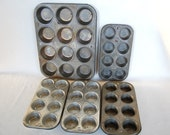 Set of 3 Funky and Scruffy Vintage Muffin Tins Bake King and Ekcoloy Silver Beauty 3 Dozen Total FULL SIZE Cupcakes