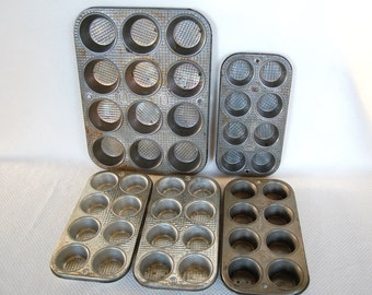 Choice of 5 Funky and Scruffy Vintage Muffin Tins Bake King and Ekcoloy Silver Beauty FULL SIZE Cupcakes