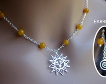 Jewelry Set Sterling Silver Sun Pendant Yellow Jade Gemstone Necklace Earrings Womens Teens Birthday Gift