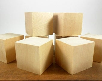 "8 Solid Wood Blocks 2"" Wood Cube Unfinished Wood Block"