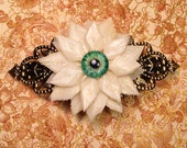 PREORDER - Osteo Flora Series: Large Bone Flower French Style Hair Barrette with Glass Human Eye - Your Choice of Color