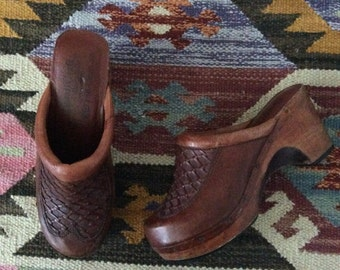1970's Leather & Wood Heel Platform Clogs Brown Leather Vintage Shoes Size 6.5 7 by Maeberry Vintage