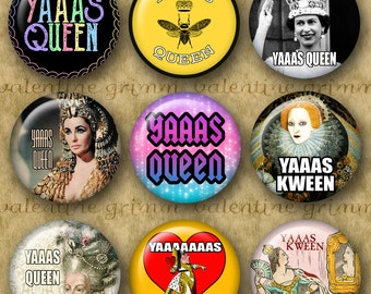 YAAAS QUEEN 1 inch Circles - Digital Printable collage sheet for Jewelry Pendants Magnets Crafts...original designs