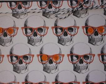 Halloween Card, Skull Heads, Skulls Halloween Card, Skull Heads with Orange Glasses