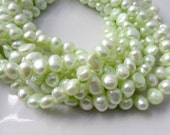 Light Green Pearls, Freshwater Pearls, Nugget Pearls, Real Pearls, Mint Green Pearls, Large Pearls, Genuine Pearls, 8mm-9mm Full Strand