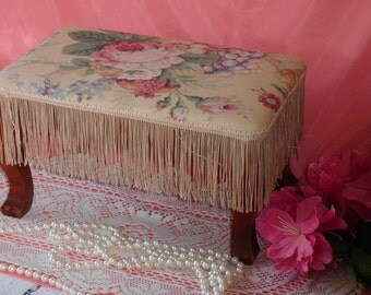 Vintage Cottage Chic Foot Stool with Fringe