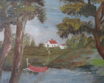 SALE! NOW 75.00! Vintage oil painting, landscape, folk art, lake, fishing boat, squirrel, rustic cabin, farmhouse decor