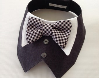 Charcoal Gray Tuxedo/Tux bib-style bandana for dogs or cats - custom made to order