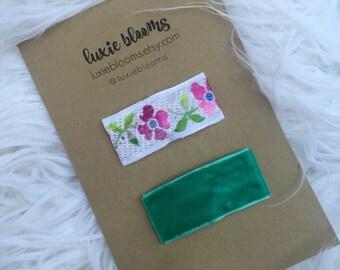 Vintage Hair Clips, Snap Clip, Hair Bow, Floral bow, Velvet bow