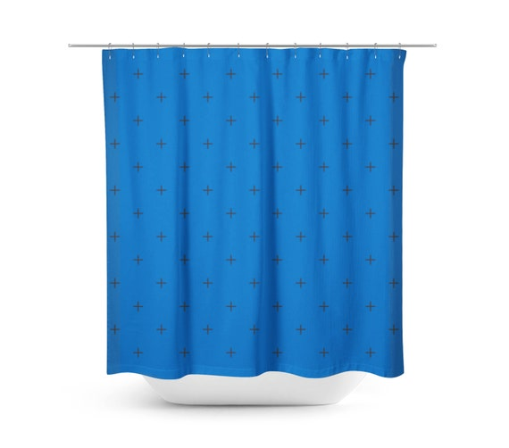 Items Similar To Blue Shower Curtain Swiss Cross Black Greek Cross Hipster Style