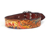 Small Personalized Leather Dog Collar - Custom Tooled Leather Dog