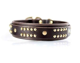 Handmade Leather and Brass Dog Collar, Thick Dog Collars, Gift for Pets, Custom Leather Dog Collars, Pit bull Dog Collars