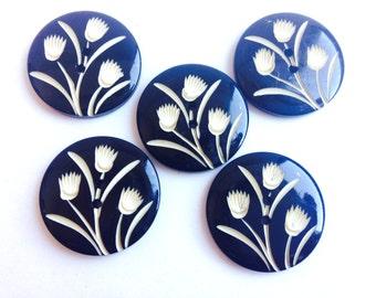 5 vintage incised carved flower buttons