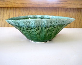 Vintage USA Two Tone Green Pottery Planter