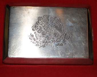 sterling 925 silver Mexican wallet business card holder   PLATA