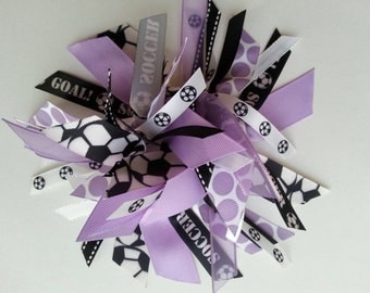 Reserved Listing - Set of 9 Soccer Ribbon Ponytail Streamers in Lavender, Black, and White