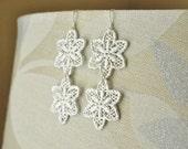 Silver Double Stargazer Lily Lace Earrings - Wedding Bridal Jewelry, Statement Earrings, Long Dangle, Crochet Look, Feminine