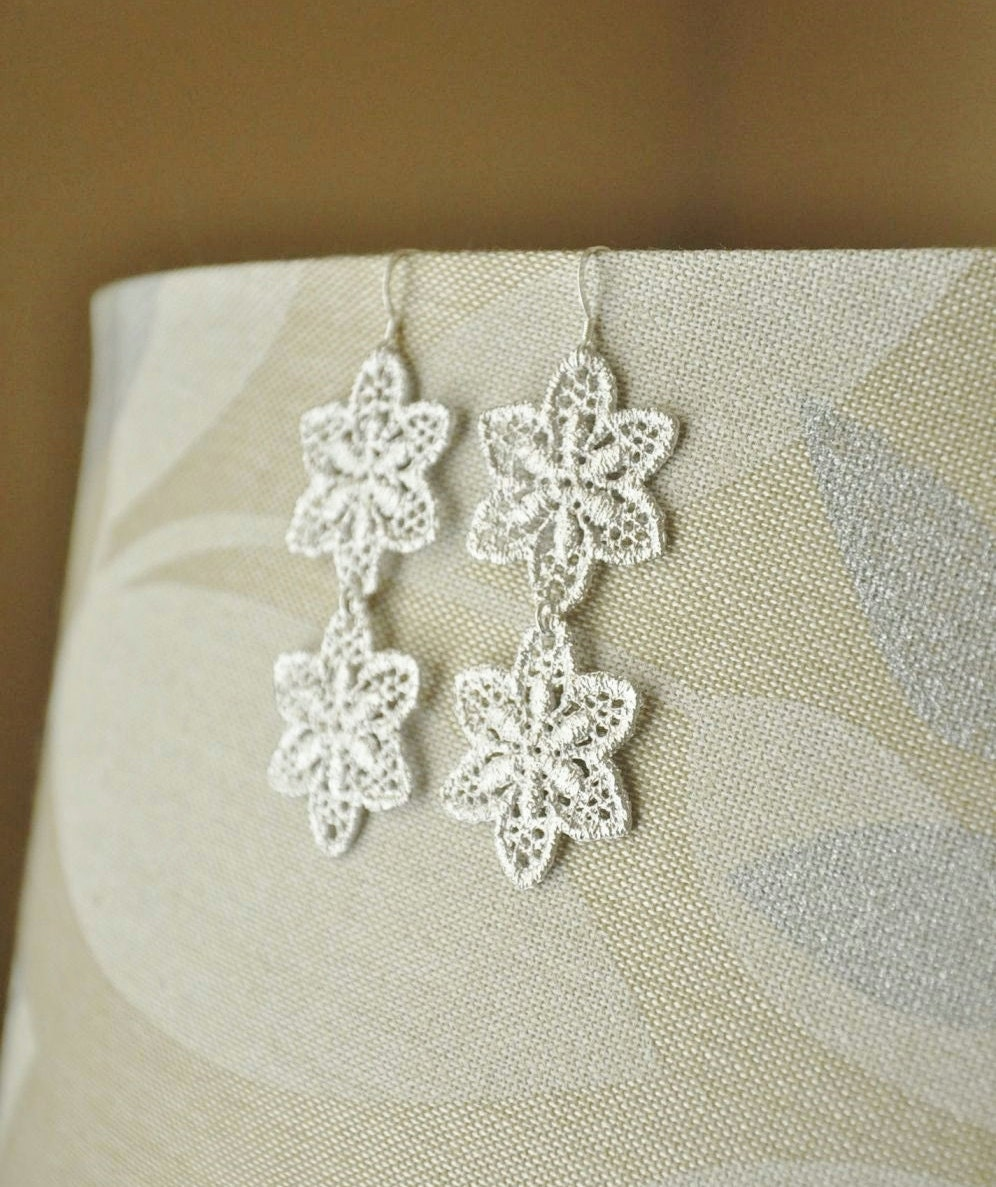 Stargazer Lily Earrings- Silver Earrings/ Statement Earrings/ Lace Earrings/Star Earrings/ Long Earrings/Flower Earrings/ Feminine Earrings
