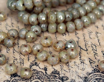 Pirate Pearls - 5mm x 3mm Czech Glass Picasso Bead Spacer Rondelle Rondell (30) Bohemian Gypsy Luxe Champagne Opalite - Central Coast Charms