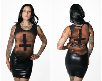 Inverted Cross Faux Shiny Leather Dress with Lace