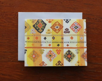 Greeting Card - Blank Card - Multipurpose Card - Art Card - Any Occasion Card - Yellow Card - Cheery Card - Boho Card - Tribal Card - Kilim