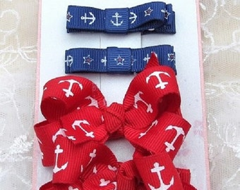 Baby Girls Boutique Hairbows and Hair Clippies Combination Set Anchor Away theme