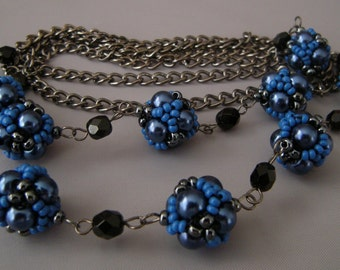 Metal Chain Beaded Beads Necklace/ Blue Gunmetal Black Beaded Beads Necklace