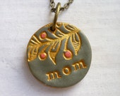 30, 40, 50 Years old Gift for Mom, Imprinted Mom Necklace with Foliage handmade Texture in Gold, Coral and Cement