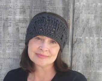 Cabled crochet headband, headwrap, ear warmer - charcoal grey - crochet accessories Winter Fashion handmade Salutations Crochet