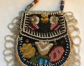 Vintage Native American Double Faced Beaded Purse Silk or Cotton  Sateen Binding and Lining Glass Beads  Perhaps Micmac or Iroquois