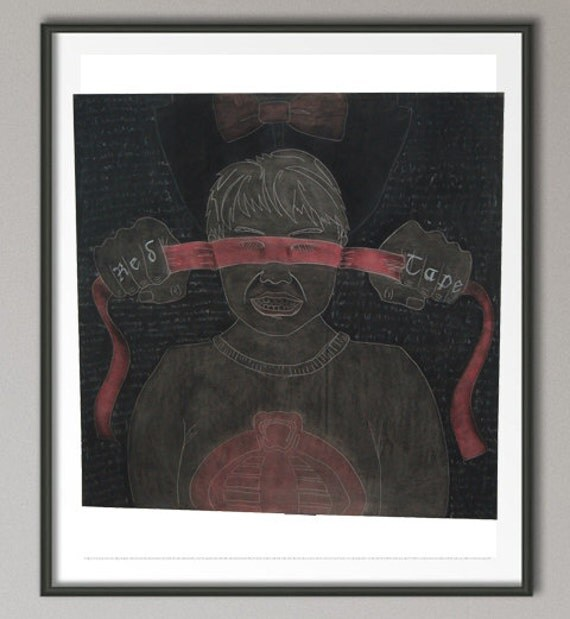 """Drawing - """"Red Tape"""""""