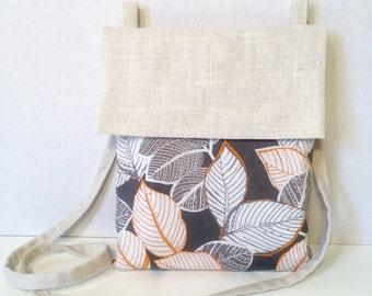 Linen Crossbody Bag, Small Crossbody Bag, Cotton Crossbody Bag, Linen Purse, Leaf Print Purse, Modern Bag, Modern Purse, White, Gray, Orange