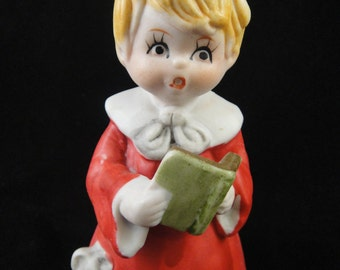 Christmas Caroler Blonde Girl Porcelain Bell MMC 1980