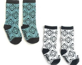 Baby and toddler knee high socks package of 2 Baby socks teal blue and black and whiteBoot Socks in Aztec print baby shower gift nordic