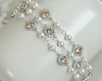 Cubic Zirconia Champagne and Swarovski Pearls Bracelet, Wedding Bridal Bracelet,Three Row Gold Champagne and White Swarovski Pearls Bracelet