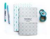 Set of Two Large Patterned Journals - Sky Blue Crosshatch and Turquoise Triangles