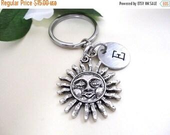 SALE Sunburst Keychain - Sun Keychain - Sun Charm Keychain