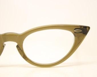 Pointy Brownsmoke cat eye glasses vintage cateye frames eyeglasses 1950s glasses