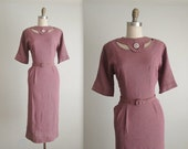 STOREWIDE SALE 50's Secretary Dress // Vintage 1950's Sexy Fitted Peekaboo Cutout Day Dress M L