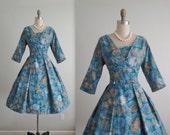 50's Floral Dress // Vintage 1950's Blue Floral Print Cotton Garden Party Full Pleated Summer Dress M
