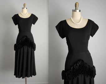 40's Dress // Vintage 1940's Milgrim Black Rayon Ruffle Cocktail Party Evening Dress XS