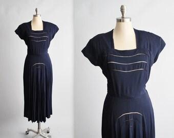 40's Dress // Vintage 1940's Navy Rayon Peekaboo Swing Day Dress M