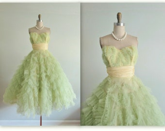50's Prom Dress // Lemon Lime Green Tulle Strapless Party Prom Dress Cupcake Fantasy Gown XS