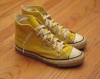 vintage 60s yellow converse Chuck Taylor hi tops