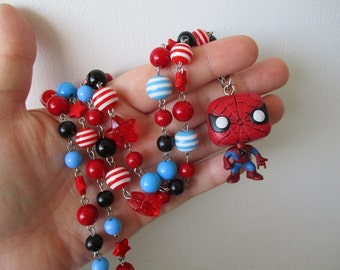 Spider-man necklace - Marvel -Beaded necklace - Geek Gear - Funko Pop Neklace
