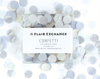 Wedding Confetti - HOLIDAY PARTY - Hand-Cut Confetti - Linen : Oyster, Mist, Oatmeal, Metallic Silver