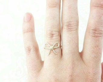 Tie the Knot Ring, Bow Ring, Brides Gift Bridal, Bride to Be, Bridesmaid Gift, Bridal Shower Gift Silver Gold Copper Jewelry Gifts Under 10